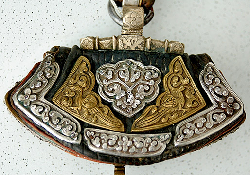 Ref #238 Very antique Tibetan Pursue from our Tibet Art Ethnic Objects and antiques catalogue